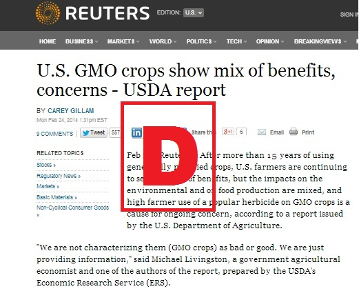 Academics Review grades Reuters coverage of USDA ERS GE Crop report D