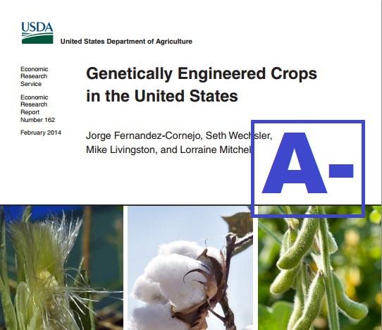 Academics Review grades USDA ERS GE Crop Report  A-